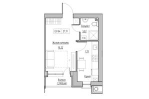 ЖК KEKS: планировка 1-комнатной квартиры 27.11 м²