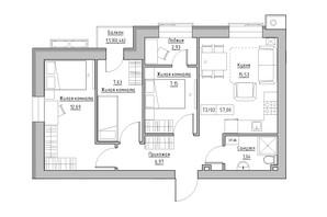 ЖК KEKS: планировка 3-комнатной квартиры 44.92 м²