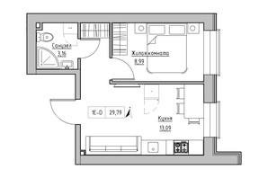ЖК KEKS: планировка 1-комнатной квартиры 29.79 м²