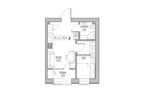 ЖК KEKS: планировка 1-комнатной квартиры 29.5 м²