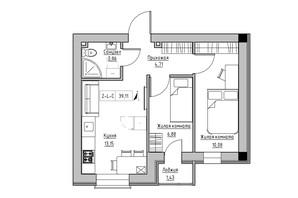 ЖК KEKS: планировка 2-комнатной квартиры 39.11 м²