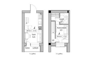 ЖК KEKS: планировка 1-комнатной квартиры 27.92 м²