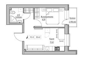 ЖК KEKS: планировка 1-комнатной квартиры 30.42 м²