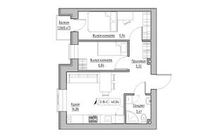 ЖК KEKS: планировка 2-комнатной квартиры 40.84 м²