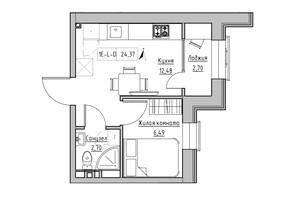 ЖК KEKS: планировка 1-комнатной квартиры 23.87 м²