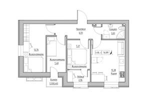 ЖК KEKS: планировка 3-комнатной квартиры 56.89 м²