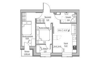 ЖК KEKS: планировка 2-комнатной квартиры 45.29 м²