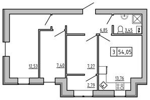 ЖК KEKS: планировка 3-комнатной квартиры 55.33 м²