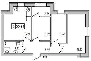 ЖК KEKS: планировка 3-комнатной квартиры 55.23 м²