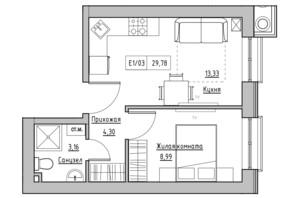 ЖК KEKS: планировка 1-комнатной квартиры 29.78 м²