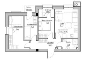 ЖК KEKS: планировка 3-комнатной квартиры 56.94 м²