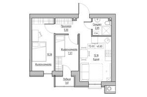 ЖК KEKS: планировка 2-комнатной квартиры 40.83 м²
