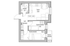 ЖК KEKS: планировка 2-комнатной квартиры 41.03 м²