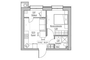 ЖК KEKS: планировка 1-комнатной квартиры 28.33 м²