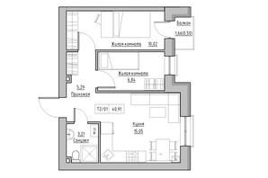 ЖК KEKS: планировка 2-комнатной квартиры 40.91 м²