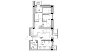 ЖК KEKS: планировка 3-комнатной квартиры 45.07 м²