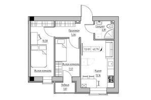ЖК KEKS: планировка 2-комнатной квартиры 40.79 м²