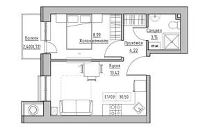 ЖК KEKS: планировка 1-комнатной квартиры 30.5 м²