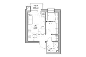 ЖК KEKS: планировка 1-комнатной квартиры 29.72 м²