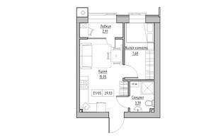 ЖК KEKS: планировка 1-комнатной квартиры 29.03 м²