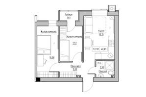 ЖК KEKS: планировка 2-комнатной квартиры 40.81 м²