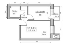 ЖК KEKS: планировка 1-комнатной квартиры 30.54 м²
