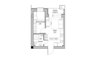 ЖК KEKS: планировка 1-комнатной квартиры 28.08 м²