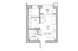 ЖК KEKS: планировка 1-комнатной квартиры 29.53 м²