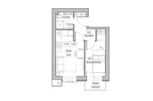 ЖК KEKS: планировка 1-комнатной квартиры 31.58 м²