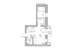 ЖК KEKS: планировка 1-комнатной квартиры 35.71 м²