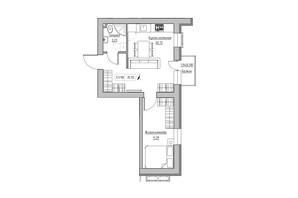 ЖК KEKS: планировка 1-комнатной квартиры 35.92 м²