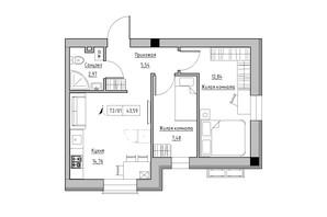 ЖК KEKS: планировка 2-комнатной квартиры 43.59 м²