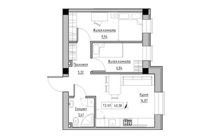 ЖК KEKS: планировка 2-комнатной квартиры 40.38 м²