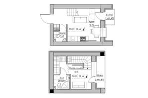 ЖК KEKS: планировка 1-комнатной квартиры 30.46 м²