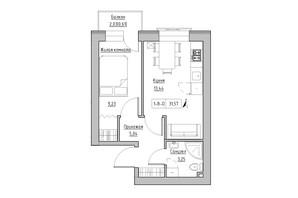 ЖК KEKS: планировка 1-комнатной квартиры 31.57 м²