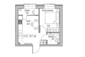 ЖК KEKS: планировка 1-комнатной квартиры 28.27 м²
