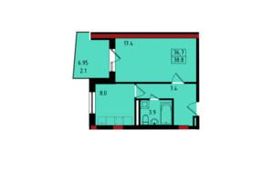 ЖК Калейдоскоп: планування 1-кімнатної квартири 38.8 м²