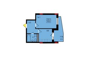 ЖК Калейдоскоп: планування 1-кімнатної квартири 35.6 м²