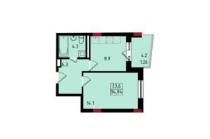 ЖК Калейдоскоп: планування 1-кімнатної квартири 34.84 м²
