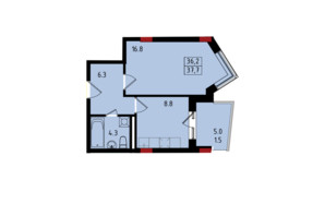 ЖК Калейдоскоп: планування 1-кімнатної квартири 37.7 м²