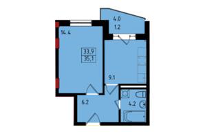 ЖК Калейдоскоп: планування 1-кімнатної квартири 35.1 м²
