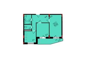 ЖК Калейдоскоп: планування 2-кімнатної квартири 55.56 м²