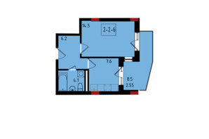 ЖК Калейдоскоп: планування 1-кімнатної квартири 34.95 м²
