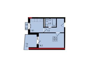 ЖК Калейдоскоп: планування 1-кімнатної квартири 37.9 м²