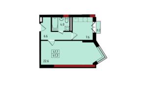 ЖК Калейдоскоп: планування 1-кімнатної квартири 41.2 м²