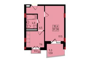 ЖК Калейдоскоп: планування 1-кімнатної квартири 37.39 м²