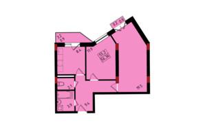 ЖК Калейдоскоп: планування 2-кімнатної квартири 56.36 м²