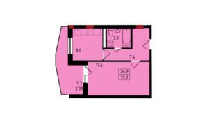 ЖК Калейдоскоп: планировка 1-комнатной квартиры 39.7 м²