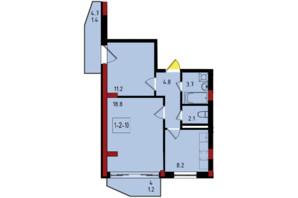 ЖК Калейдоскоп: планировка 2-комнатной квартиры 51.4 м²