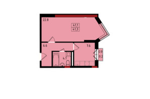 ЖК Калейдоскоп: планировка 1-комнатной квартиры 41.3 м²